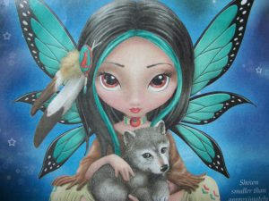 A Fairy holding a Wolf puppy