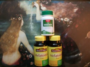 Melatonin bottles surrounded by mermaids