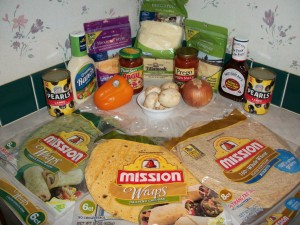 Ingredient to make Pizza including Mission Tortilla Wraps