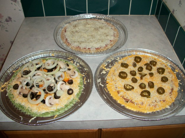 Pizzas ready for the oven